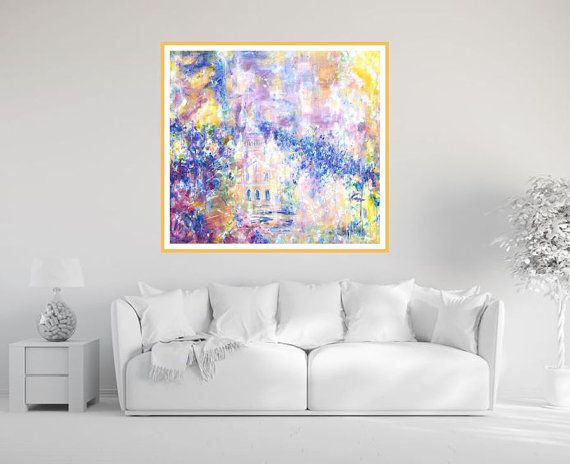 Large abstract print violet blue yellow giclee by MarilionFineArt