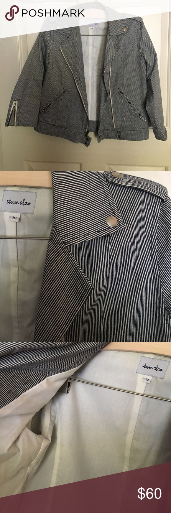 Seersucker Jacket 3/4 length sleeves and in great condition. Dry clean only. Perfect finishing touch to any weekend look! Steven Alan Jackets & Coats