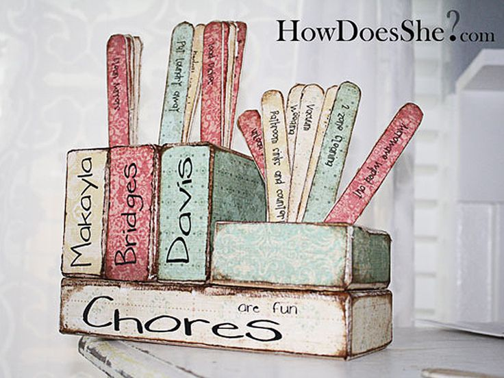 Popsicle stick chores! Way better than the lists my mom would write out for us on paper!