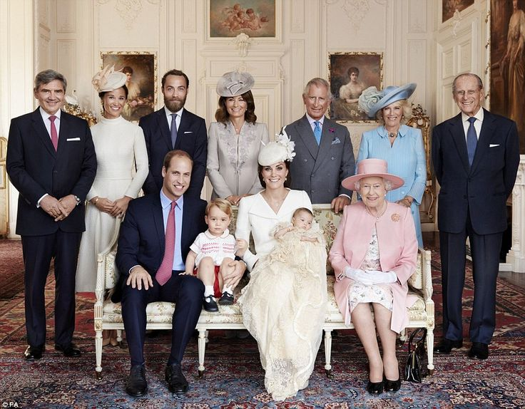 Modern family: The Queen is pictured at Princess Charlotte's christening along with Prince William, Prince George, and the Duchess of Cambridge, holding the little princess. Standing, from left: Michael Middleton,Pippa Middleton, James Middleton, Carole Middleton, The Prince of Wales, The Duchess of Cornwall and The Duke of Edinburgh