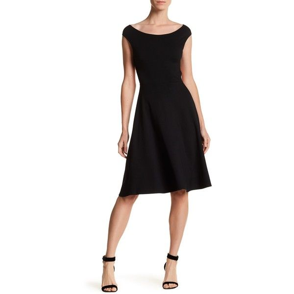 Yumi Kim Cross Fire Dress ($70) ❤ liked on Polyvore featuring dresses, black, midi circle skirt, crisscross dresses, skater skirt, mid calf dresses and scoop neck dress
