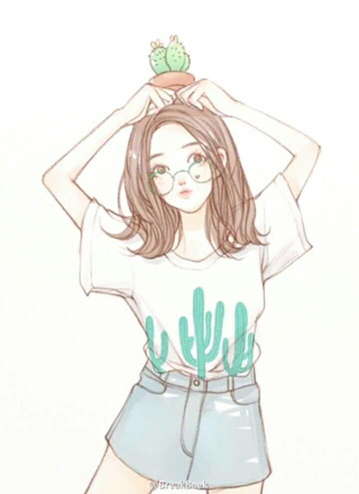 Cute Girl Freedom Happy Animasi Seni Karakter Ilustrasi Orang