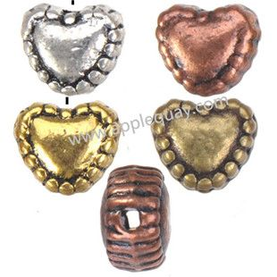 Zinc Alloy Heart Love Beads,Beaded,Plated,Cadmium And Lead Free,Various Color For Choice,Approx 5.5*6*4mm,Hole:Approx 1mm,Sold By Bags,No 001561