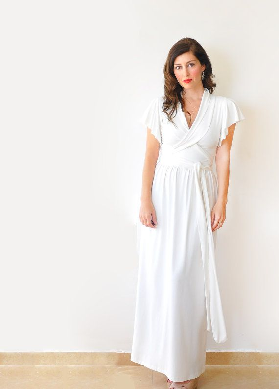 Crémeux blanc Maxi robe Simple Casual / Alternative par Lirola, $125.00