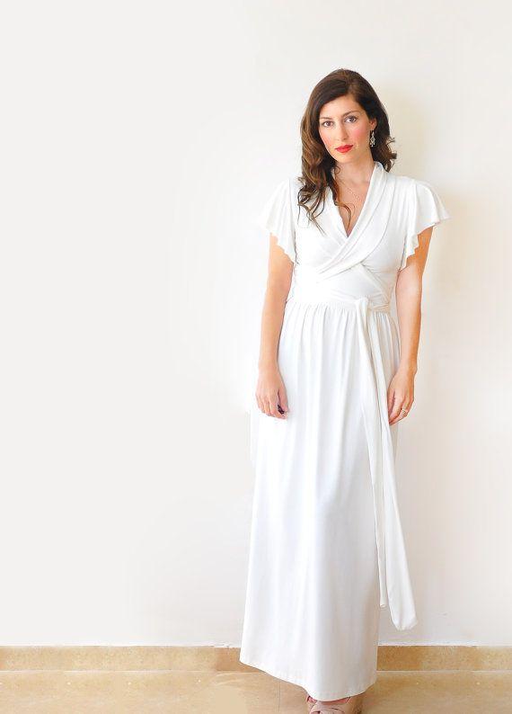 Creamy White Maxi Dress Simple Casual Alternative By Lirola 11700