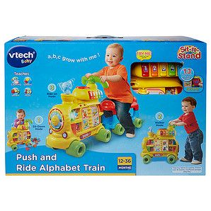 Make tracks with the Vtech Push and Ride Alphabet Train. The colourful train and carriage teaches little ones letters, numbers, colours, songs, stories...
