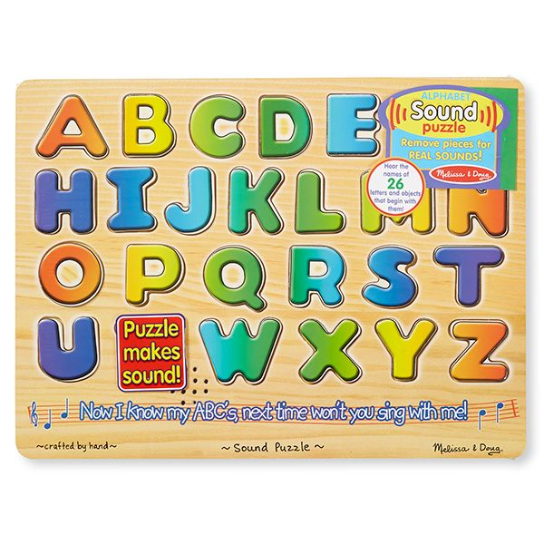 Alphabet Sound Puzzle and over 7,500 other quality toys at Fat Brain Toys. Hear the names of 26 letters & objects that begin with them! Highly durable & colorful, this classic ABC puzzle teaches children the alphabet, letter identification, letter sounds, small motor skills, and cause & effect relationships!