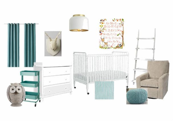 aqua, gray, & white woodland creature nursery