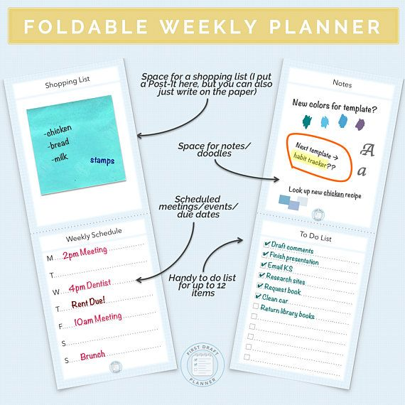 wwwetsy/listing/584971289/foldable-weekly-planner - Agenda Planner Template