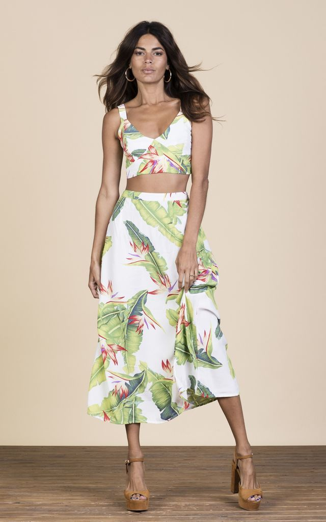 Click to view Ariel Skirt in White Banana Leaf