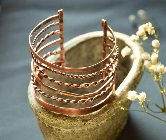 wire bracelet statement bangle handmade jewelry by CopperFinger