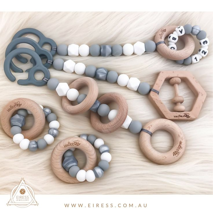Playgym / pram toy set of 3 in Amia Argent with matching Ellipse teething toys Worldwide shipping only $15.95AUD