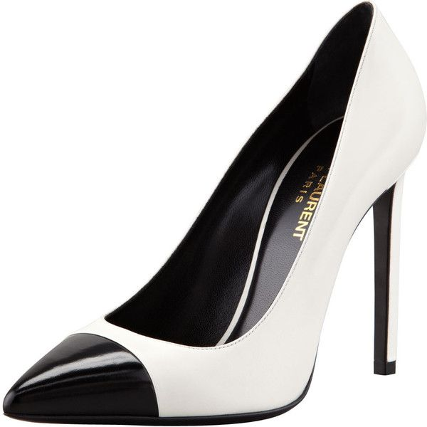 Saint Laurent Bi-Color Leather Cap-Toe Pump, White/Black ($665) ❤ liked on Polyvore