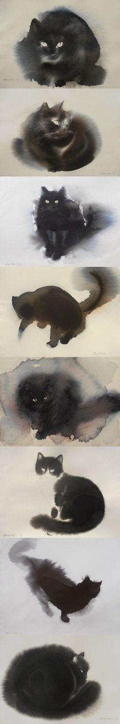 (4) watercolor - Watercolor Painting | Pinterest - Kat, Aquarel Kat en Aquarel