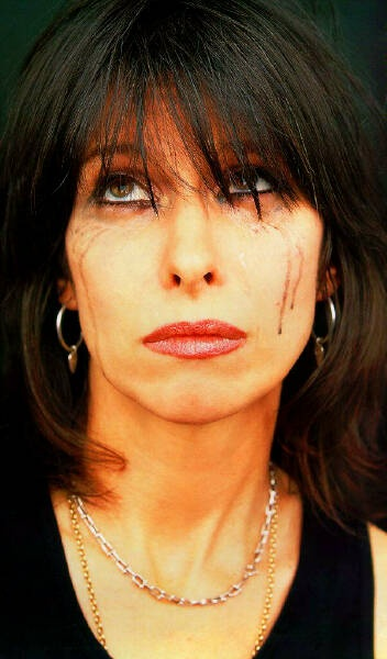 Chrissie Hynde (The Pretenders) with tears