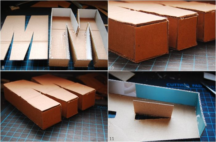 DIY cardboard box letters are easy to make.  #move #ecosmartboxes #teachers
