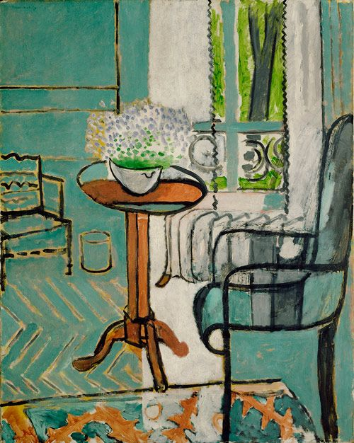 "Matisse-The Window -"" ...Matisse described this picture: ""Through the window of the drawing room one sees the green of the garden and a black tree trunk, a basket of forget-me-nots on the table, a garden chair and a rug."" ....Matisse flattened the parquet floor and turquoise walls into one unified line. Add the tilted table top and the skeletal chair, and you have a painting that carefully balances Matisse's desire to reproduce the world accurately in a harmonious two-dimensional painting. """