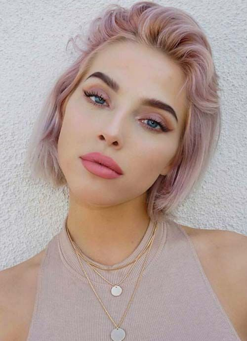 Short Hairstyles for Women: Pink Wispy Short Bob