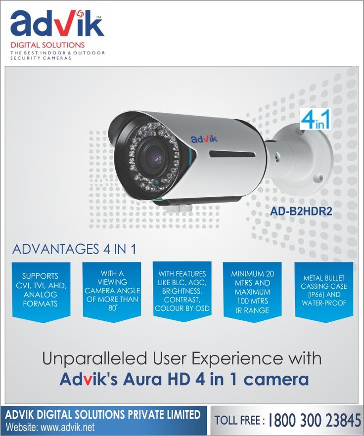 Unparalleled user experience with Advik's Aura HD 4 in 1 camera!!! Advik's Aura HD 4 in 1 #camera offers you an unparalleled user experience with contrast color by OSD and a CMOS image sensor, which enhance the quality of the image and video recorded so that you don't miss any crucial details. It supports 4 modes of streaming; CVI, TVI, AHD and ANALOG. Among the key features are high speed real-time transmission, night vision, low light viewing, 2.8 to 12 vari-focal lens, and an IP 66…