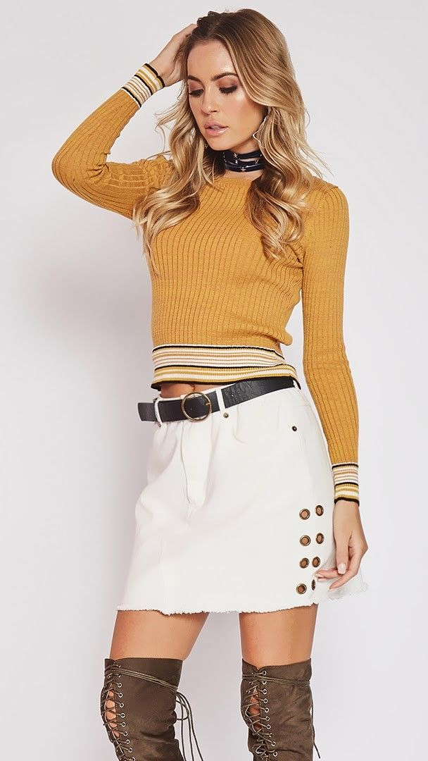 Side Effects Knit Top ☆ Follow us @popcherryau for more Popcherry fashion ☆ mustard // ripped // top