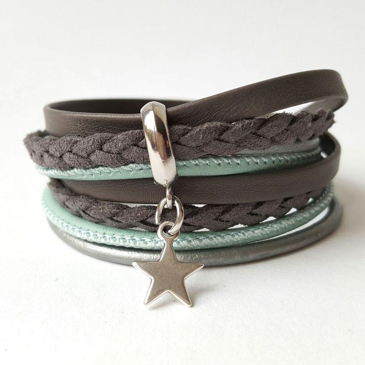 ibiza wikkel armband grijs zeegroen met ster. 17,95