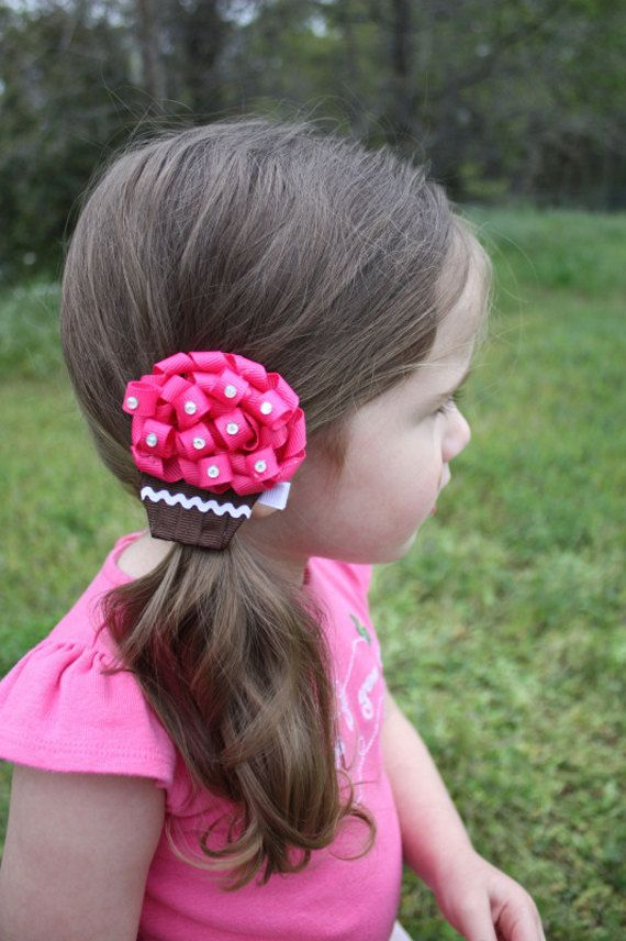 Hair Bow Hair Clip Cupcake Ribbon Sculpture by lilyslittleclips. , via Etsy.