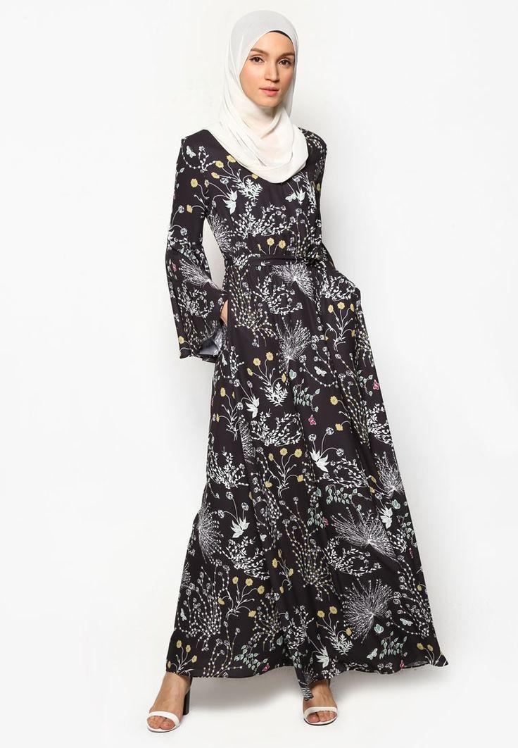 Floral Print Flare Sleeve Dress_4