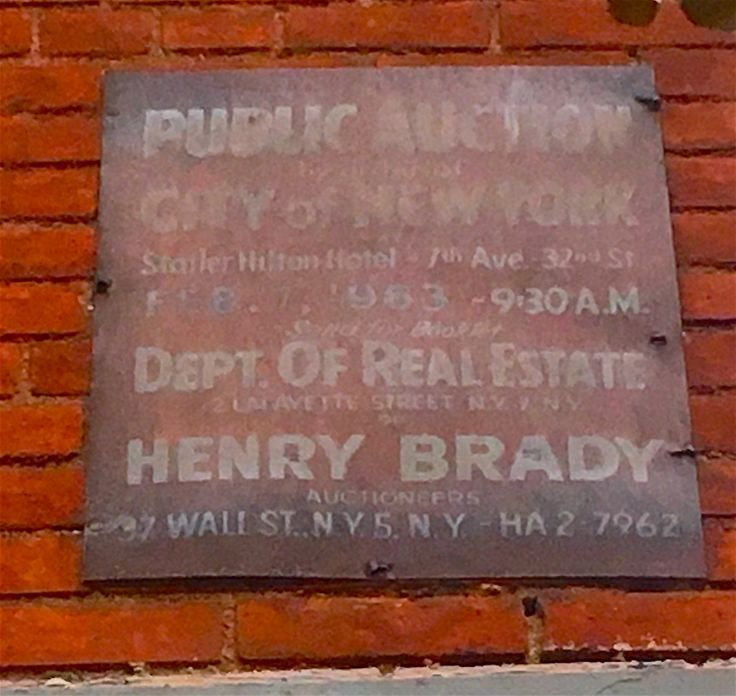 Has this metal sign advertising a land auction really been posted on a building at Greenwich Avenue and West 12th Street since 1963? Considering the faded lettering and typeface, it certainly seems…