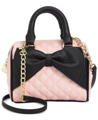 Betsey Johnson Mini Bow Quilted Satchel