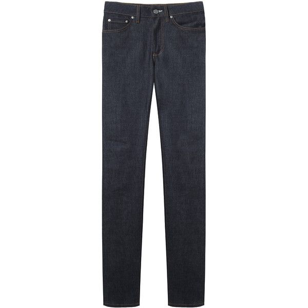 Acne Studios Needle Raw Jean (1,570 GTQ) ❤ liked on Polyvore featuring jeans, pants, bottoms, trousers, slim cut jeans, acne studios, indigo jeans, slim fit jeans and high waisted jeans