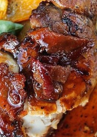 Balsamic Grilled Chicken with Spicy Honey Bacon Glaze. The glaze alone is all I need:)