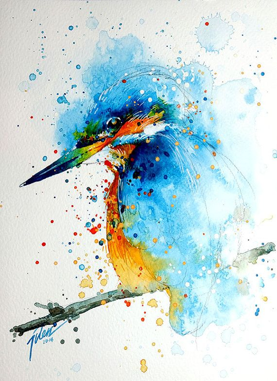 Kingfisher watercolor painting A4 8.3 x 11.7 by TilenTiArtist