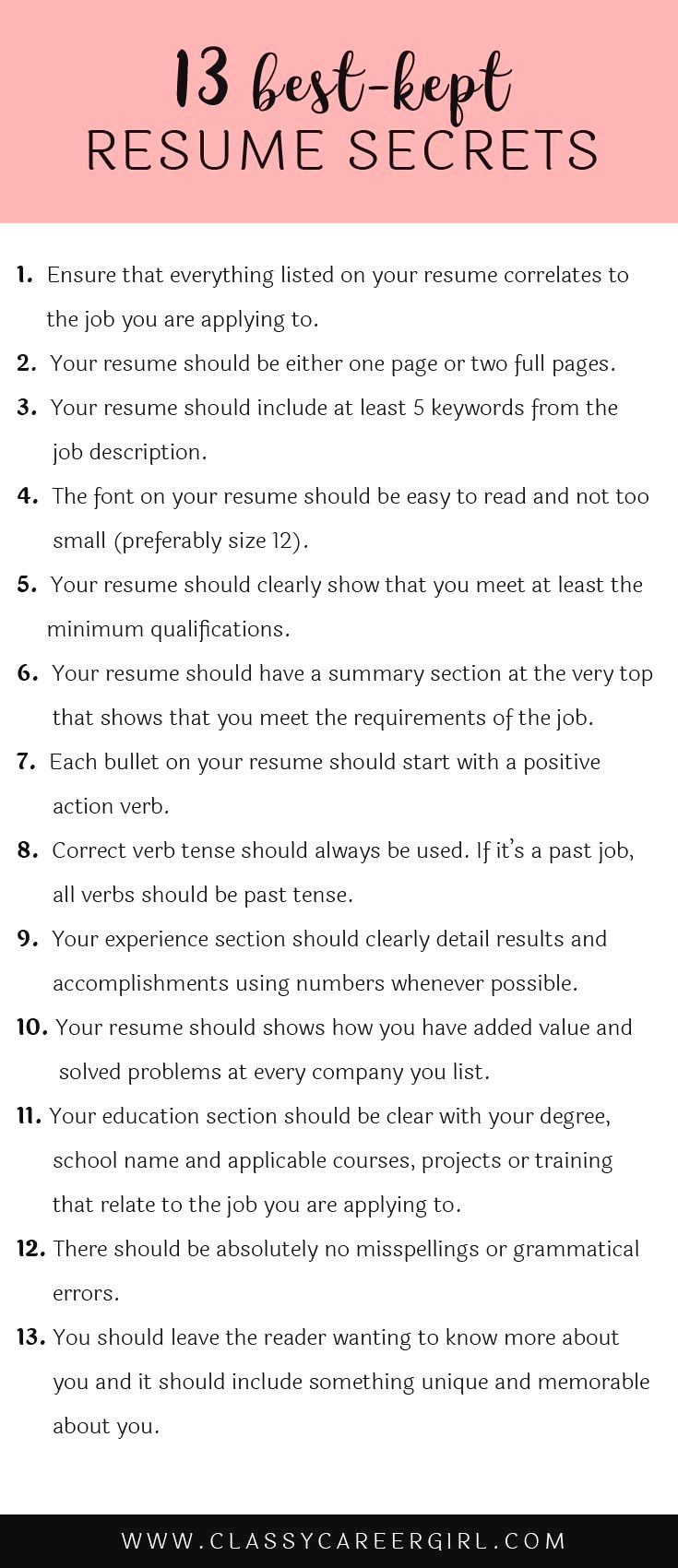 Here Are 13 Resume Secrets That Will Turn Your Resume From Boring To Awesome These Secrets Truly Are Important To Stand Job Info Job Resume Job Interview Tips