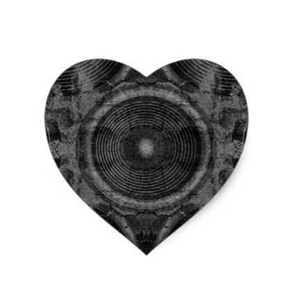 Black and white music speakers heart sticker - black gifts unique cool diy customize personalize