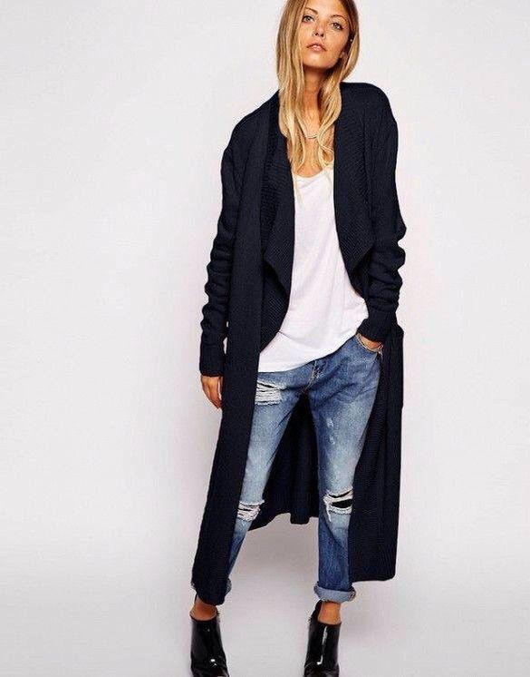Long black sweater coat // long black cardigan 2