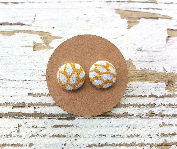 Vintage Fabric Button Post Earrings  1/2 by CelebrateCreativity