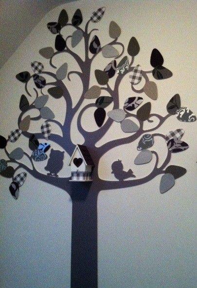 Onze boom op de kinderkamer. De blaadjes zijn van behang en kunnen gewisseld worden.