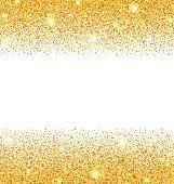Abstract Golden Sparkles on White Background. Gold Glitter Dust