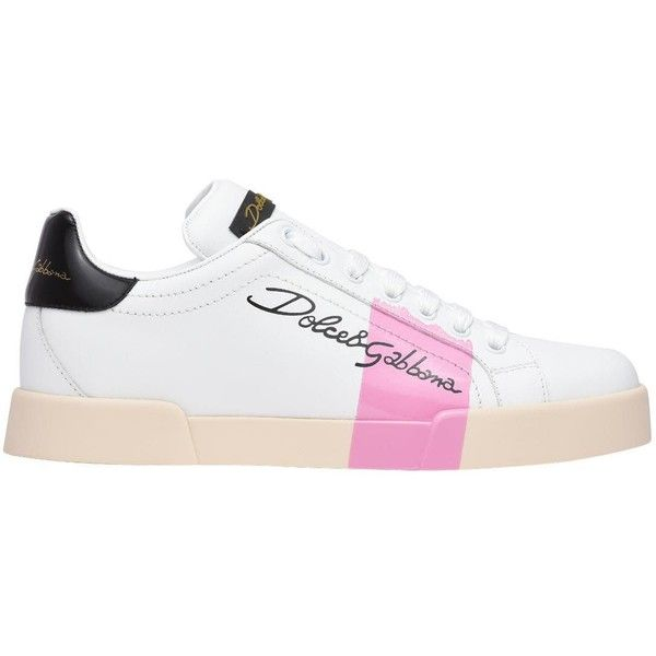 Dolce&Gabbana Sneakers White Pink ($550) ❤ liked on Polyvore featuring shoes, sneakers, riga rosa, dolce gabbana shoes, dolce gabbana trainers, calfskin sneakers, calfskin leather shoes and dolce gabbana sneakers