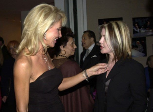 Linda Thompson and Priscilla Presley at Larry King's surprise 70th birthday party