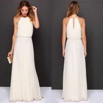 b4d6daef25 vestido largo elegante sin mangas de gasa con cintura alta de noche de  fiesta para Mujer-blanco