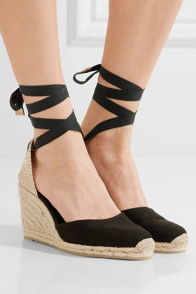 Wedge heel measures approximately 90mm/ 3.5 inches with a 15mm/ 0.5 inches platform Black canvas Ties at ankle Imported