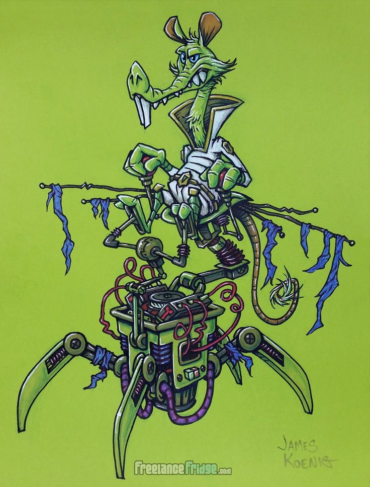 Cartoon Rat Mouse Alien Space Creature Riding Spider Legged Robot Pen and Colored Markers Drawing Concept Design