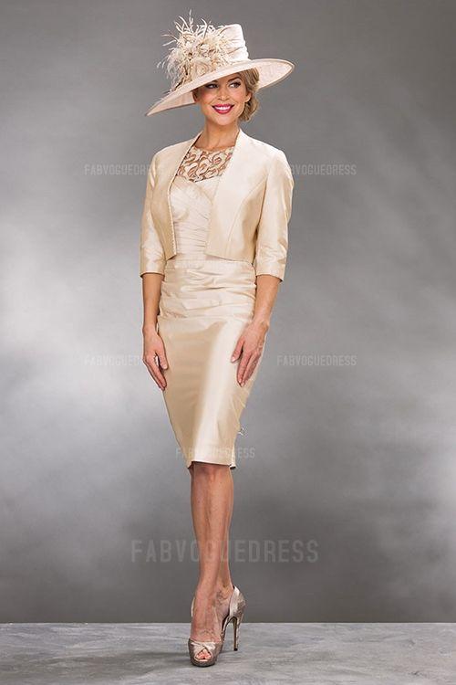 Sheath/Column Jewel Knee-length Taffeta Mother of the Bride Dress
