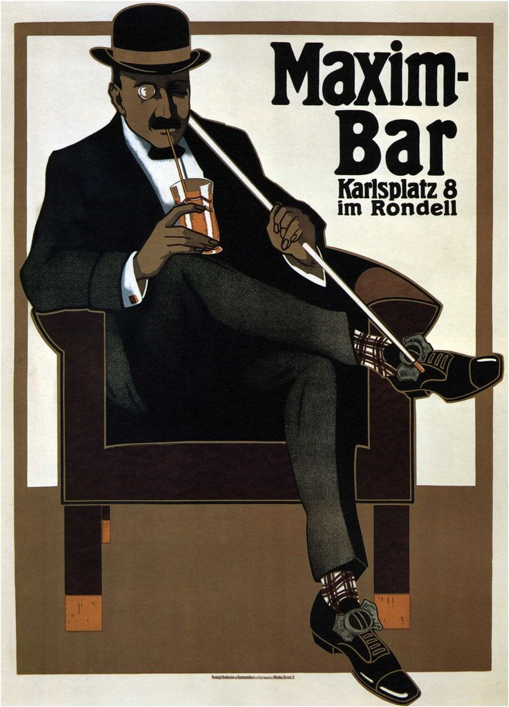 Advertising Poster: Maxim Bar 1907 by Hans Rudi Erdt vintage #AdvertisingPosters