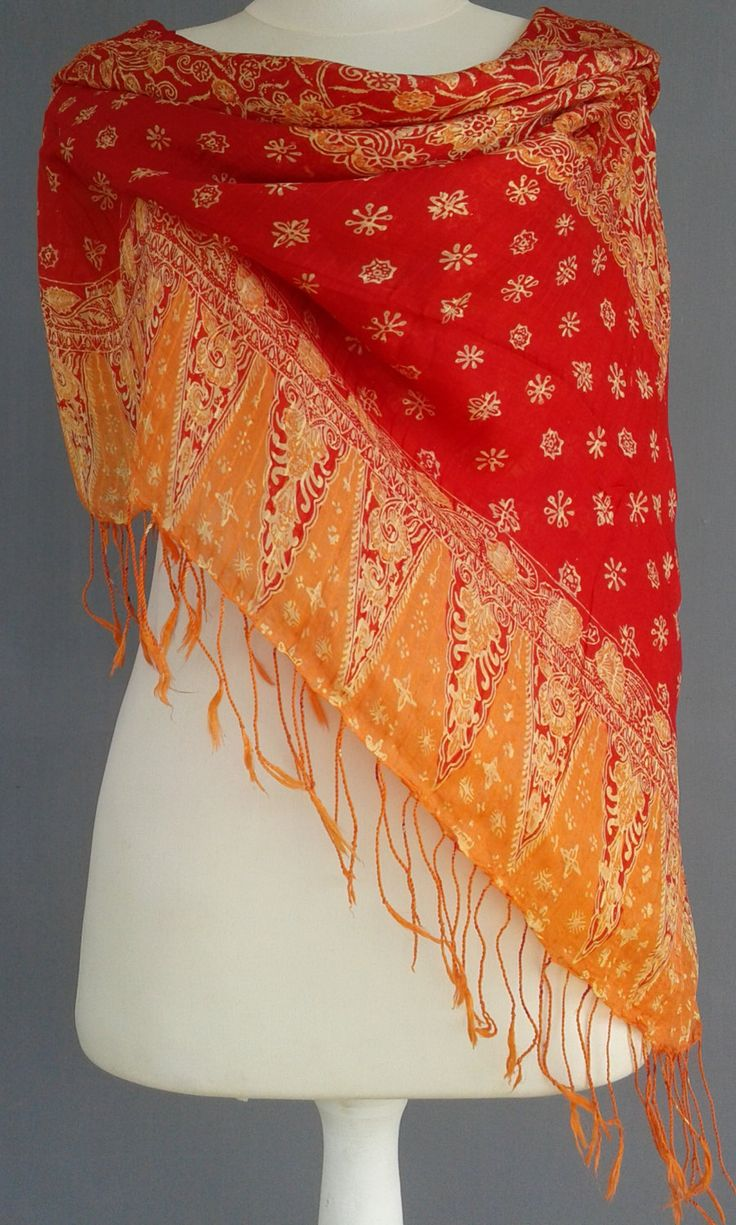 Vintage Handprinted~ Summer fashion~ Orange and Red Silk~ large scarf ~Bright Cowl~ Traditional Indonesian ~Block Print Designer Fabric ~ by JavaniceHandyCraft on Etsy