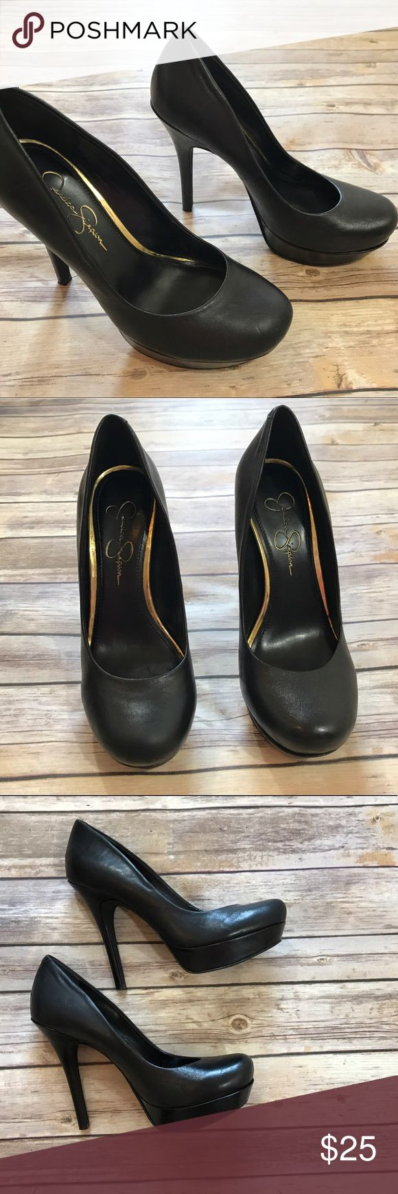 """Jessica Simpson black platform pumps/ heels 5"""" heel. All black pumps/ heels. Very comfortable. Some scuffs of the bottom from rocks ( see last photo). Jessica Simpson Shoes Heels"""