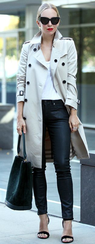 Pale coloured trench coat + excellent contrast + leather leggings + Helena Glazer + plain white tee + pair of cool shades + street glam!   Trench/Trousers: Burberry, Tee: Splendid, Shoes: Steven.