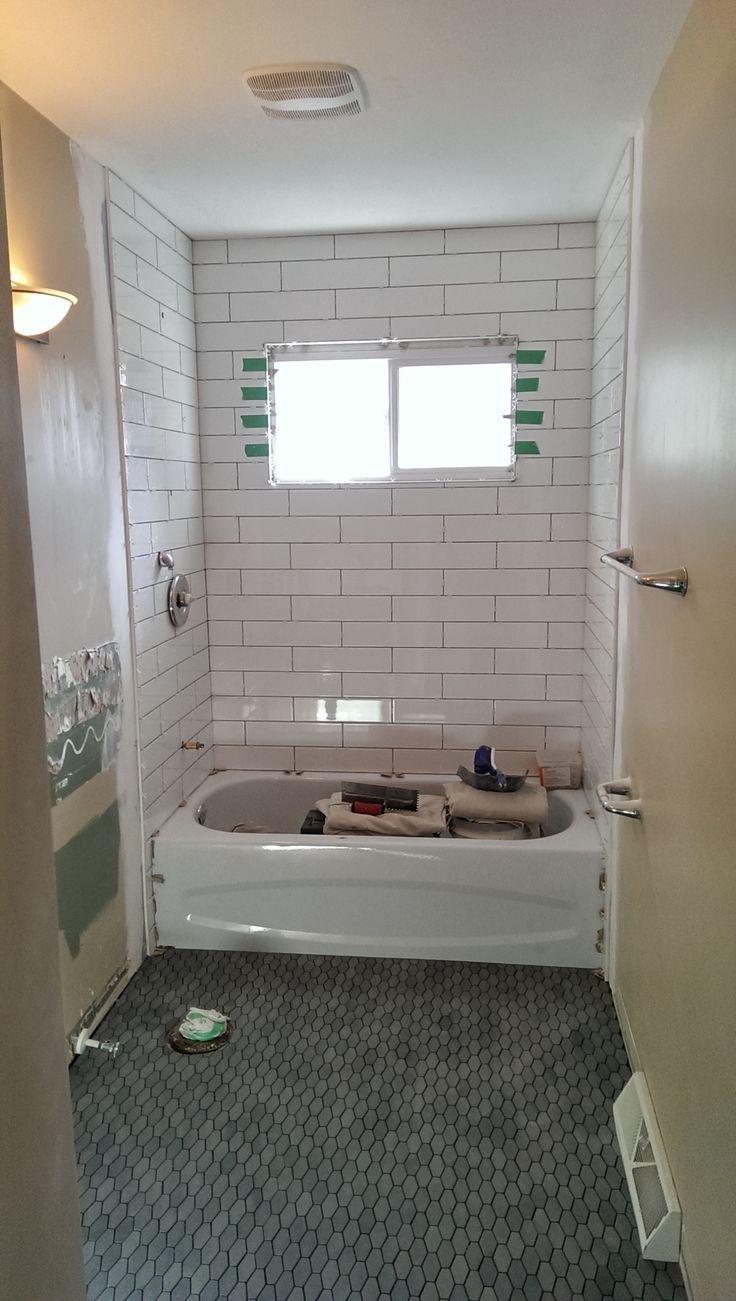 Bathroom Renovation 4 Quot X 16 Quot White Subway Tile Shower Enclosure Hexagonal Basalt Natural