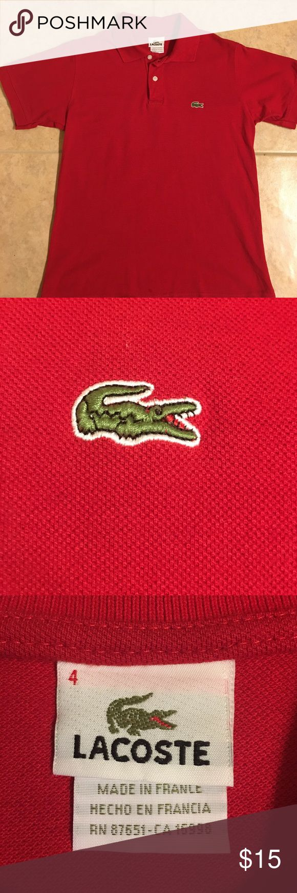 Men's Lacoste Polo Shirt Red Size 4 Small Men's Lacoste Polo Shirt.  Small- size 4.  Red. Like new condition! Great shirt for summer!! Smoke-free home.  Bundle and save! Lacoste Shirts Polos